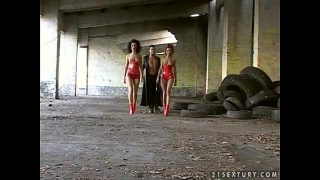 Two Naughty Girls In Red Latex Uniform In Hot Threesome Video