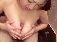 Gripping oriental shower masturbation